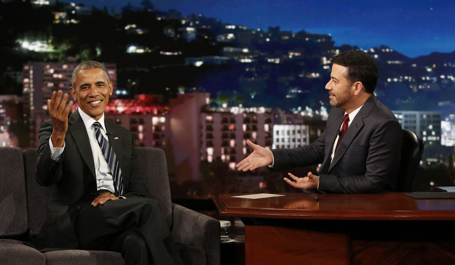 "This photo provided by ABC shows guest, President Barack Obama, left, and host Jimmy Kimmel during the taping of the television show, ""Jimmy Kimmel Live!,"" in the Hollywood section of Los Angeles, Monday, Oct. 24, 2016. The show airs every weeknight at 11:35 p.m. EST. (Randy Holmes/ABC via AP)"
