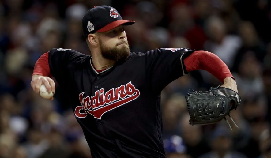 Corey Kluber struck out nine Cubs over six shutout innings. (Associated Press)