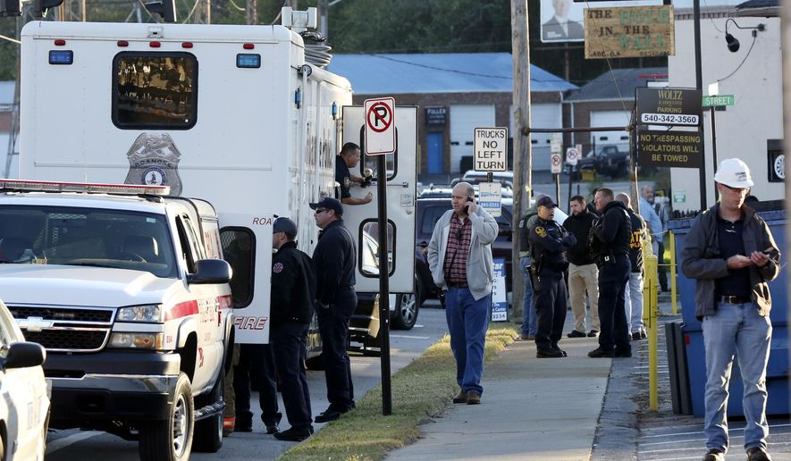 Police from Roanoke, Salem and Roanoke County, as well as Virginia State Police and the Roanoke Sheriff's Office, responded to a fatal shooting at FreightCar America in Roanoke, Va., Tuesday morning, Oct. 25, 2016. Police say a man fatally shot someone and wounded several others inside the rail car manufacturing company in Virginia before apparently killing himself. (Heather Rousseau/The Roanoke Times via AP)