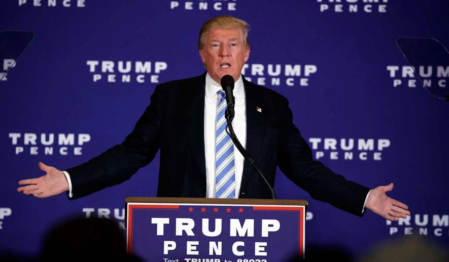 Donald Trump speaking at Gettysburg, Pennsylvania. (Associated Press) ** FILE **