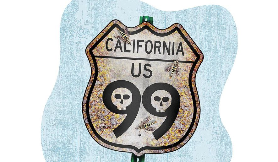 California's Failing Highway 99 Illustration by Greg Groesch/The Washington Times