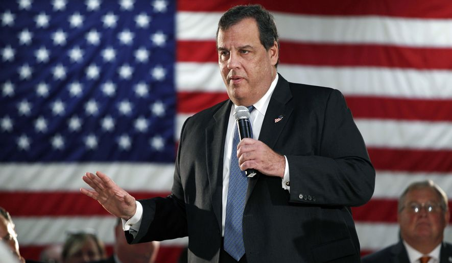 In this Oct. 18, 2016 file photo, New Jersey Gov. Chris Christie addresses a gathering at a public forum in New Providence, N.J. Christie has maintained for three years that he didn't know anything about the George Washington Bridge lane closures either before they happened or while they were going on. Four people, including one of his closest political advisers, have testified under oath that Christie knew more than he has said. (AP Photo/Mel Evans, File)