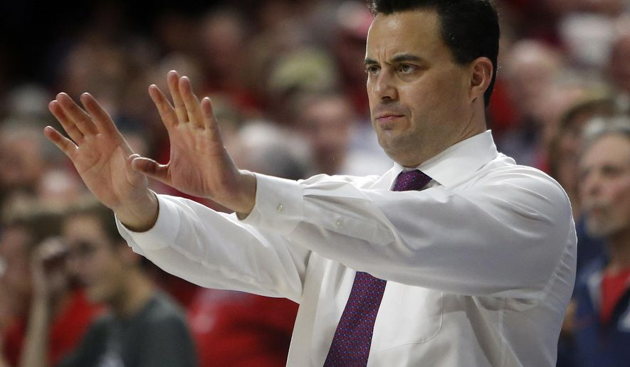 FILE - In this Friday, Feb. 12, 2016 file photo, Arizona head coach Sean Miller during the second half of an NCAA college basketball game against UCLA, in Tucson, Ariz.  The Wildcats are still loaded and expected to make another NCAA Tournament run. (AP Photo/Rick Scuteri, File)