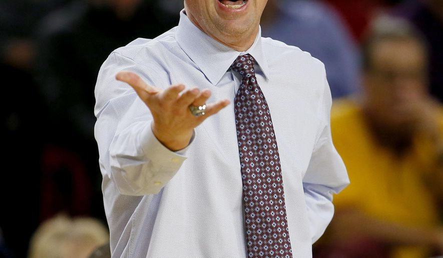 FILE - In this Thursday, Jan. 14, 2016 photo, Arizona State coach Bobby Hurley yells during the first half of his team's NCAA college basketball game against Washington State in Tempe, Ariz. Bobby Hurley had to make do with recruits from the previous coach in his first season at Arizona State. Now that Hurley has been able to bring in some of his own recruits, expect the Sun Devils to play much faster than they did a year ago. (AP Photo/Matt York, File)