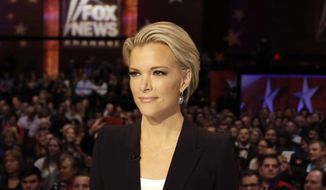 Moderator Megyn Kelly waits for the start of the Republican presidential primary debate in Des Moines, Iowa, on Jan. 28, 2016. (Associated Press) **FILE**