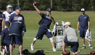 Dallas Cowboys quarterback Tony Romo, center, throws during NFL football practice at the team's practice facility in Frisco, Texas, Wednesday, Oct. 26, 2016. (AP Photo/LM Otero)