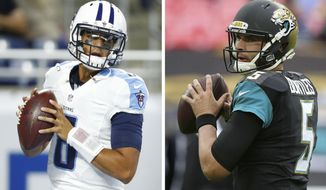 FILE - At left, in a Sept. 18, 2016, file photo, Tennessee Titans quarterback Marcus Mariota warms up before the first half of an NFL football game against the Detroit Lions, in Detroit. At right, in an Oct. 23, 2016, file photo, Jacksonville Jaguars quarterback Blake Bortles (5) passes the ball as he warms-up before an NFL football game against Indianapolis Colts in London. The Jaguars and Titans play Thursday night in Nashville. (AP Photo/File)