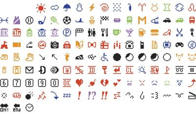 This photo provided by The Museum of Modern Art in New York shows the original set of 176 emojis, which the museum has acquired. The emojis were a gift to the museum from the phone company, Nippon Telegraph and Telephone. (Shigetaka Kurita/NTT DoCoMo/Courtesy of The Museum of Modern Art)