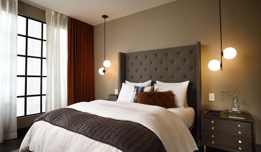 This undated image provided by West Elm shows a model room for hotels that are expected to open under the West Elm brand. West Elm, a trendy home design retailer, is planning to get into the hospitality business by opening hotels in five cities over the next few years: Indianapolis, Detroit, Minneapolis, Savannah, Georgia, and Charlotte, North Carolina. (West Elm via AP)