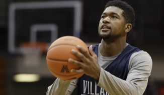 Villanova's Kris Jenkins shoots the ball during the NCAA college basketball team's media day in Villanova, Pa., Tuesday, Oct. 25, 2016. (AP Photo/Matt Rourke)