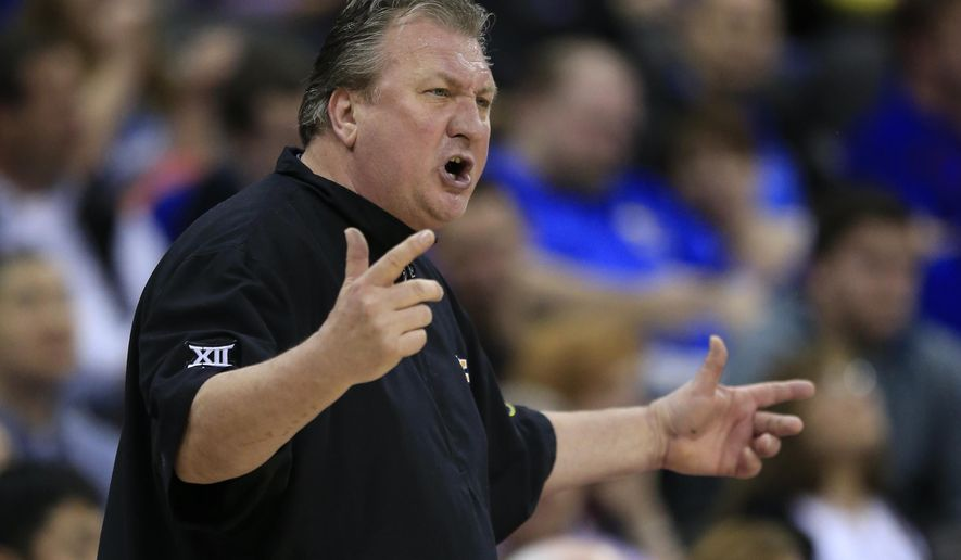 FILE - In this March 11, 2016, file photo, West Virginia head coach Bob Huggins gestures during the first half of an NCAA college basketball game against Oklahoma in the semifinals of the Big 12 conference tournament in Kansas City, Mo. The Mountaineers lost their top two scorers and rebounders from a year ago. Guards Jevon Carter and Daxter Miles are back and hope to lead West Virginia to a third straight NCAA Tournament appearance. (AP Photo/Orlin Wagner, File)