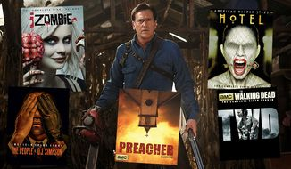 "A Halloween-themed group of Blu-ray treats include, Ash vs Evil Dead: The Complete First Season,"" ""American Horror Story: Hotel,"" ""The Walking Dead: The Complete Sixth Season,"" ""iZombie: The Complete First Season,"" ""Preacher: Season One"" and ""American Crime Story: The People vs. O.J. Simpson."""