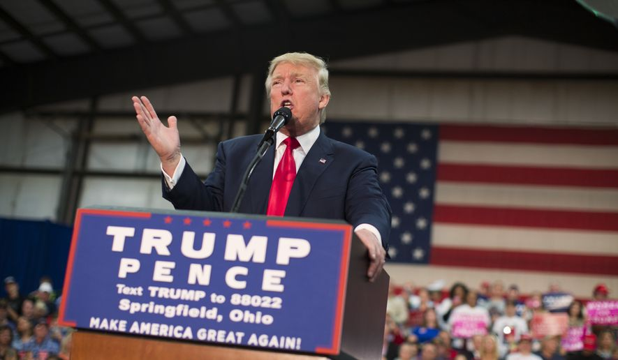 Republican presidential candidate Donald Trump speaks during a campaign rally, Thursday, Oct. 27, 2016, in Springfield, Ohio. (AP Photo/ Evan Vucci)