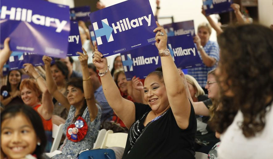 Erika Jaramillo (center) and others hold signs supporting Hillary Clinton during a Democratic National Convention watch party in San Antonio on July 26. (Associated Press)