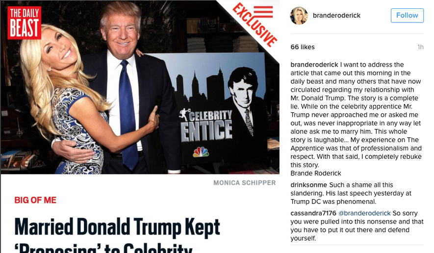 Screen capture from Brande Roderick's Instagram post in which she categorically denied allegations in an Oct. 26 Daily Beast story about Donald Trump repeatedly propositioning her.