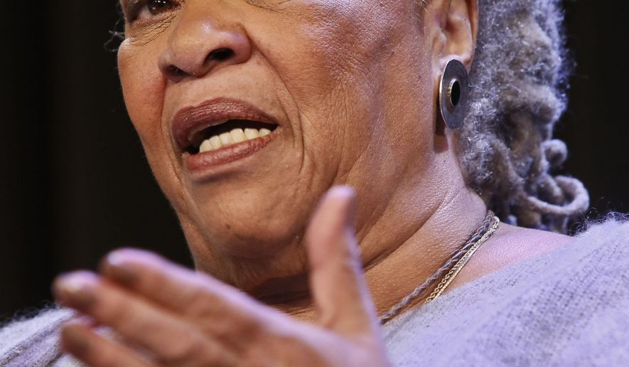 """FILE- This Wednesday, Feb. 27, 2013 file photo shows author Toni Morrison speaking during an interview about her latest book """"Home,"""" in New York. Morrison has received a lifetime achievement award from the PEN American Center. Hundreds of people gathered Thursday night, Oct. 27, 2016, at the New School auditorium in Manhattan to recognize Morrison. (AP Photo/Bebeto Matthews, File)"""
