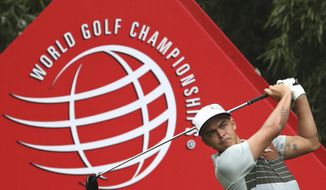 United States' Rickie Fowler hits from tee during the 2016 WGC-HSBC Champions golf tournament at the Sheshan International Golf Club in Shanghai, China, Thursday, Oct. 27, 2016. (AP Photo/Ng Han Guan)
