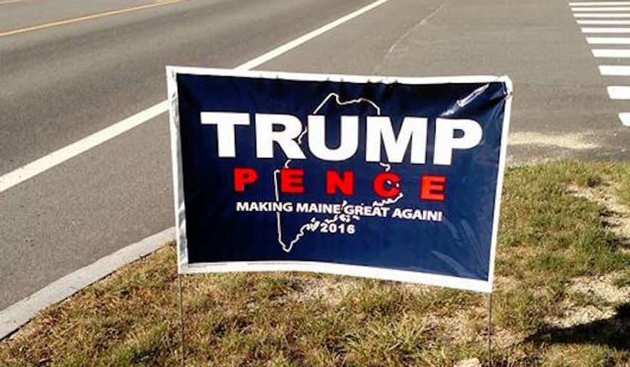 "A Maine publicist who said she felt ""assaulted"" by the number of Donald Trump yard signs in her neighborhood admitted in an op-ed for The Washington Post that she and two other women stole and destroyed dozens of signs in a fit of rage. (Facebook/@Making Maine Great Again)"