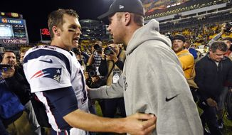 """FILE - In this Oct. 23, 2016, file photo, Pittsburgh Steelers quarterback Ben Roethlisberger, right, and New England Patriots quarterback Tom Brady, left, visit on the field after an NFL football game in Pittsburgh. A clip from Showtime's """"Inside the NFL"""" captured a conversation between the quarterbacks before the game that shows Roethlisberger asking for Brady's jersey. (AP Photo/Don Wright, File)"""