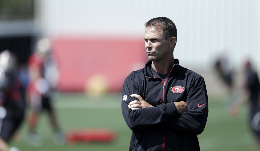 This July 31, 2016, photo shows San Francisco 49ers general manager Trent Baalke during NFL football training camp in Santa Clara, Calif. Fresh off his team's sixth straight loss, San Francisco linebacker Aaron Lynch made a bold proclamation that the 49ers had one of the most talented teams in the NFL. That might have been true just a few years ago when coach Jim Harbaugh had a roster filled with Pro Bowlers that helped San Francisco make three straight trips to the NFC title game, but is far from the case now in part because of years of poor drafting by general manager Trent Baalke. (AP Photo/Marcio Jose Sanchez)