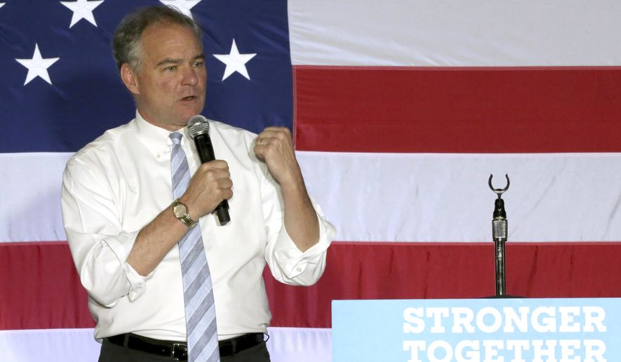 Democratic vice presidential candidate, Tim Kaine, D-Va., speaks at campaign rally at Florida State University, Friday, Oct. 28, 2016, in Tallahassee, Fla. (AP Photo/Steve Cannon)