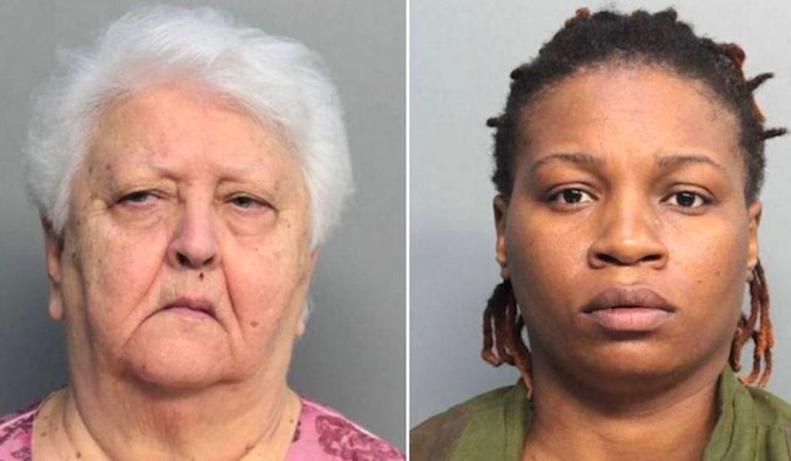 Gladys Coego, left, and Tomika Curgil, were charged with voter fraud in Miami-Dade County on Friday, Oct. 28, 2016. (Miami-Dade Corrections via Miami Herald)