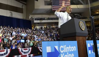 President Barack Obama speaks during a campaign event for Democratic presidential candidate Hillary Clinton at the CFE Federal Credit Union Arena in Orlando, Fla., Friday, Oct. 28, 2016. (AP Photo/Susan Walsh)