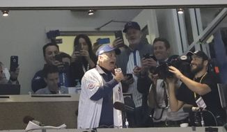 "Bill Murray sings ""Take Me Out to the Ballgame"" during the seventh inning of Game 3 of the Major League Baseball World Series between the Cleveland Indians and the Chicago Cubs Friday, Oct. 28, 2016, in Chicago. (AP Photo/David J. Phillip)"