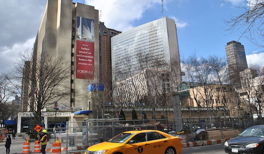 Fordham's Lincoln Center campus, viewed from Columbus Ave. in Manhattan (Wikipedia)