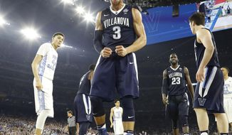 FILE - In this April 4, 2016, file photo, Villanova guard Josh Hart (3) reacts to a play against North Carolina during the second half during the championship game at the NCAA Final Four of the NCAA college basketball tournament in Houston. (AP Photo/David J. Phillip, File)