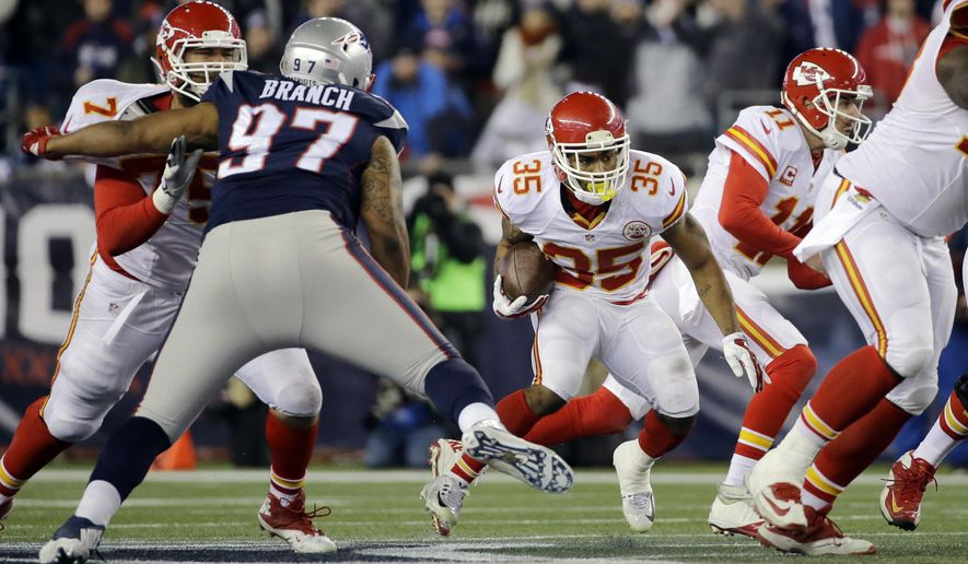In this photo taken Jan.16, 2016, New England Patriots defensive tackle Alan Branch (97) closes in on Kansas City Chiefs running back Charcandrick West (35)  in the first half of an NFL divisional playoff football game, in Foxborough, Mass. Moves are few and far between at the NFL trade deadline, but every team could use help, even the 6-1 New England Patriots, who need depth along their defensive line. (AP Photo/Elise Amendola)