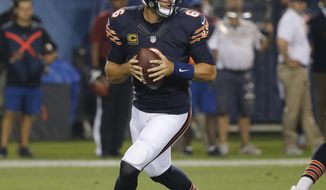 FILE - In this Sept. 19, 2016, file photo, Chicago Bears quarterback Jay Cutler (6) drops back to pass during the first half of an NFL football game against the Philadelphia Eagles, in Chicago. The Minnesota Vikings will try to get back to winning when they meet the returning Jay Cutler and last-place Chicago Bears on Monday night. (AP Photo/Charles Rex Arbogast, File)