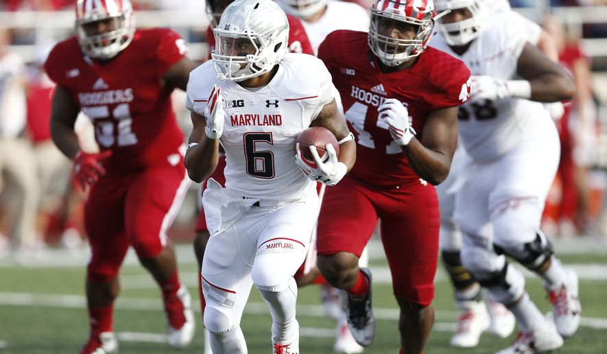 Maryland running back Ty Johnson (6) runs against Indiana during the first half of an NCAA college football game in Bloomington, Ind., Saturday, Oct. 29, 2016. (AP Photo/Sam Riche)