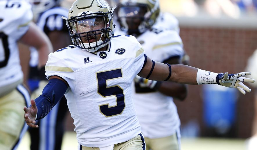 Georgia Tech quarterback Justin Thomas reacts after scoring a touchdown against Duke in the first half of an NCAA college football game Saturday, Oct. 29, 2016, in Atlanta. (AP Photo/John Bazemore)