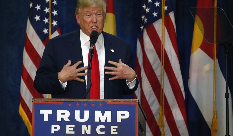 Republican presidential candidate Donald Trump speaks at a campaign rally at the University of Northern Colorado, in Greeley, Colo., Sunday, Oct. 30, 2016. (AP Photo/ Brennan Linsley)
