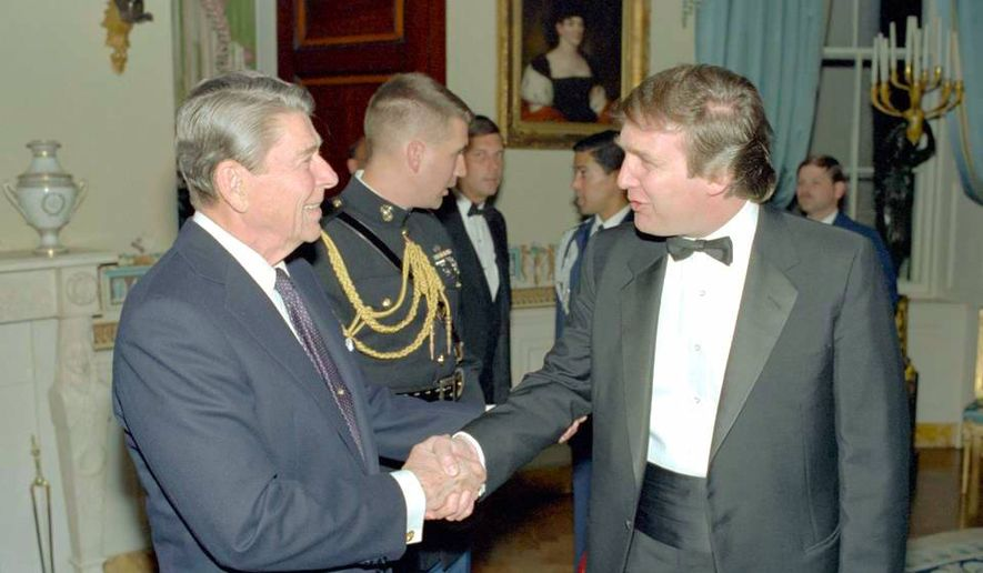 Donald Trump and President Ronald Reagan meet at a 1985 White House reception. (Ronald Reagan Presidential Library)