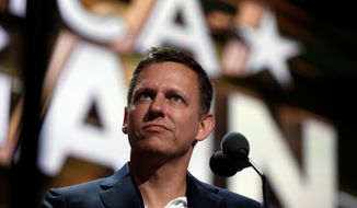 Peter Thiel's proposal for an Army software proposal was blocked, he believes, due to his support of Donald Trump. (Associated Press)