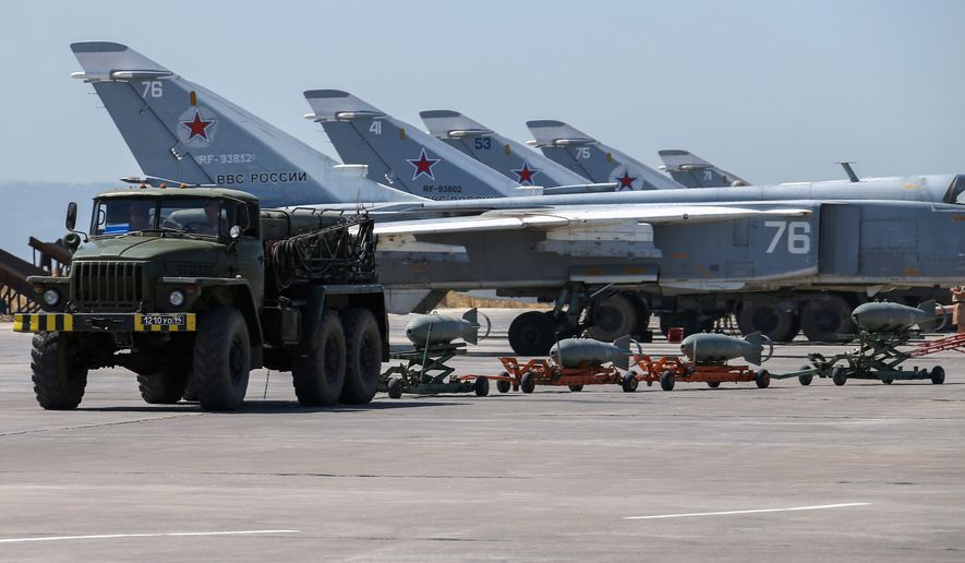 Russia has deployed fighter jets to Syria as part of its coordinated operations with troops loyal the regime of President Bashar Assad and Iranian-backed ground forces. (Associated Press)
