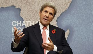 U.S. Secretary of State John Kerry speaks at The Royal Institute of International Affairs, at Chatham House, in London, Monday, Oct. 31, 2016.  (AP Photo/Kirsty Wigglesworth)