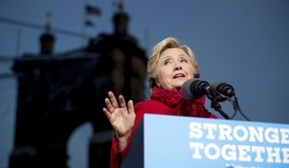 Democratic presidential candidate Hillary Clinton speaks at a rally at Smale Riverfront Park in Cincinnati, Monday, Oct. 31, 2016. (AP Photo/Andrew Harnik)