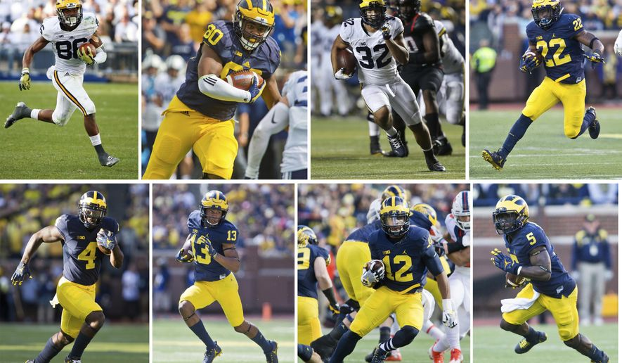 FILE - From top left are Michigan wide receiver Jehu Chesson (86), tight end Khalid Hill (80), running back Ty Isaac (32) and running back Karan Higdon (22). Bottom from left are Michigan running back De'Veon Smith (4), wide receiver Eddie McDoom (13), running back Chris Evans (12) and Jabrill Peppers (5). Jim Harbaugh likes to spread the wealth when No. 2 Michigan runs the ball. Four running backs, a pair of receivers, a fullbck and do-it-all Jabrill Peppers are each averaging more than one carry per game. (AP Photo/File)