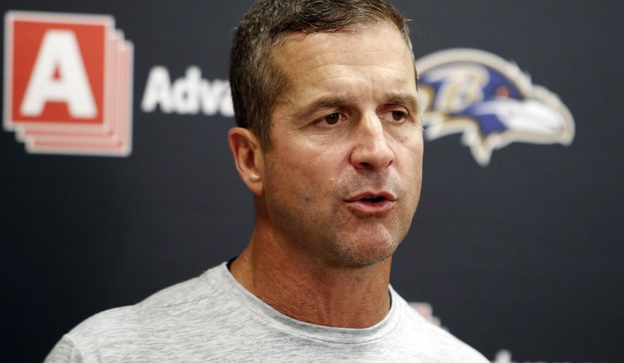 FILE - In this Sept. 18, 2016, file photo, Baltimore Ravens head coach John Harbaugh speaks to the media during a news conference after an NFL football game against the Cleveland Browns, in Cleveland.  The Ravens returned from their bye week rested, healed and eager to start a winning streak after going through October without a victory (AP Photo/Ron Schwane, File)