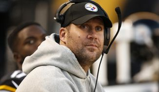This Oct. 23, 2016 photo shows Pittsburgh Steelers quarterback Ben Roethlisberger looking at the scoreboard during the second half of an NFL football game against the New England Patriots in Pittsburgh. Roethlisberger will make an attempt to play on Sunday, Nov. 5, 2016 against the Baltimore Ravens. (AP Photo/Jared Wickerham)