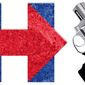 Illustration on Hillary and gun control by Alexander Hunter/The Washington Times
