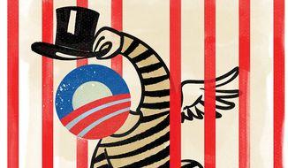 Illustration on potential Obama pardons by Linas Garsys/The Washington Times