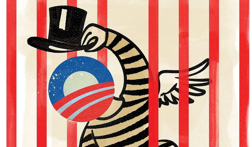 Illustration on potential Obama pardons by Linas Garsys/The Washington Times