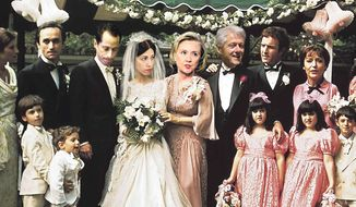 Illustration on the Clinton crime family by Alexander Hunter/The Washington Times