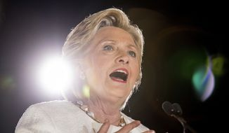 Democratic presidential candidate Hillary Clinton speaks at a rally at Sanford Civic Center in Sanford, Fla., Tuesday, Nov. 1, 2016. (AP Photo/Andrew Harnik)