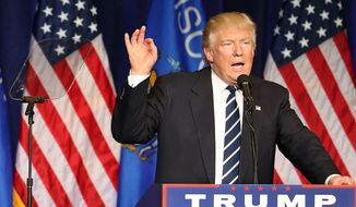 Republican presidential candidate Donald Trump speaks at a campaign stop at UW-Eau Claire's Zorn Arena in Eau Claire, Wis., Tuesday, Nov. 1, 2016. (Dan Reiland/The Eau Claire Leader-Telegram via AP)