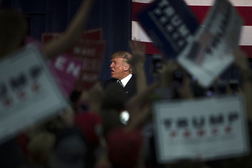Republican presidential candidate Donald Trump arrives for a campaign rally at the University of Wisconsin Eau Claire, Tuesday, Nov. 1, 2016, in Eau Claire, Wis.(AP Photo/Matt Rourke)